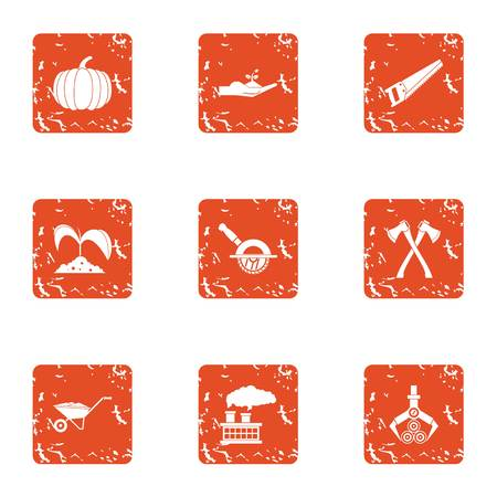 Wood carry icons set. Grunge set of 9 wood carry vector icons for web isolated on white background 일러스트