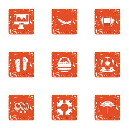 Tourist exit icons set. Grunge set of 9 tourist exit vector icons for web isolated on white background