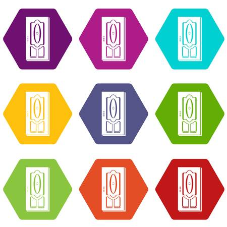 Wooden door icons 9 set coloful isolated on white for web