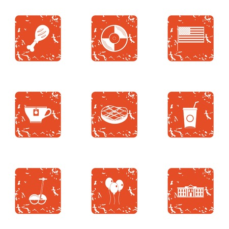 Meat idea icons set. Grunge set of 9 meat idea vector icons for web isolated on white background Иллюстрация