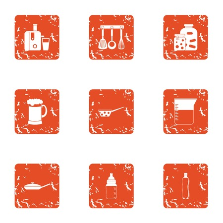 Prepare icons set. Grunge set of 9 prepare vector icons for web isolated on white background