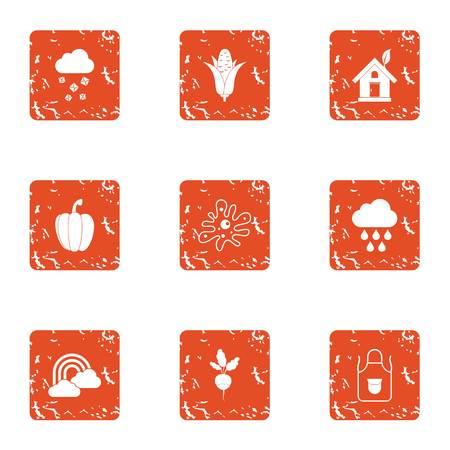 Eco profile icons set. Grunge set of 9 eco profile vector icons for web isolated on white background