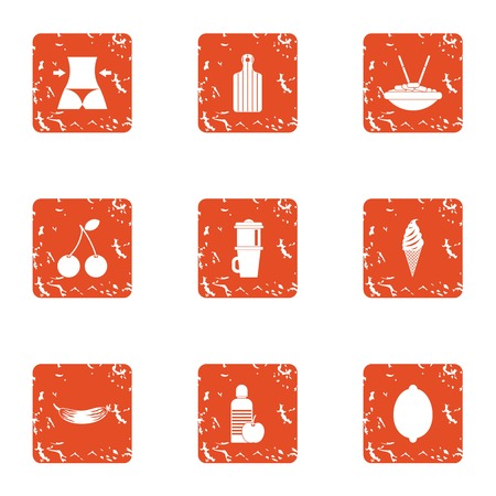 Body weight icons set. Grunge set of 9 body weight vector icons for web isolated on white background