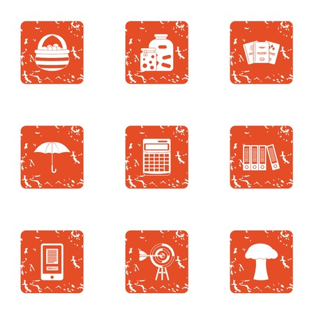 Labourer icons set. Grunge set of 9 labourer vector icons for web isolated on white background