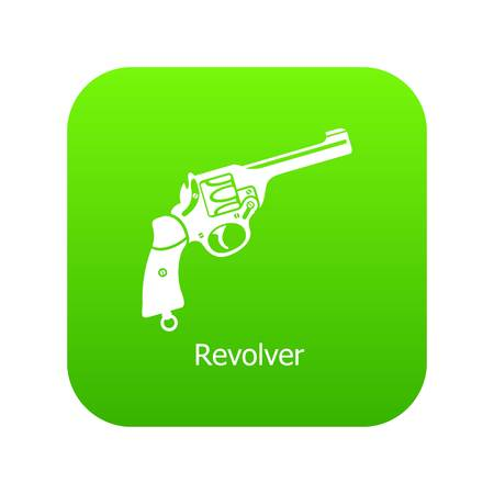 Revolver icon green vector isolated on white background