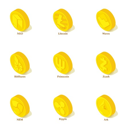 Money token icons set. Isometric set of 9 money token vector icons for web isolated on white background