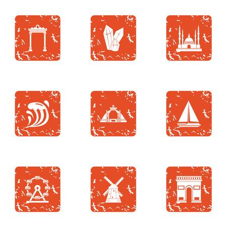 Great place icons set. Grunge set of 9 great place vector icons for web isolated on white background