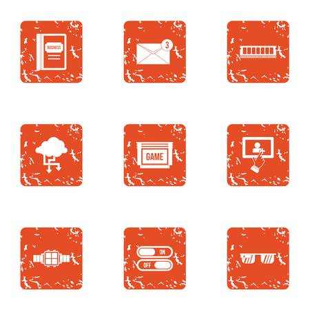 Benchmark icons set. Grunge set of 9 benchmark vector icons for web isolated on white background