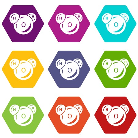 Water molecule icons 9 set coloful isolated on white for web Illustration