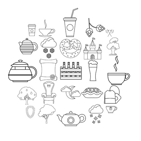 Knight icons set. Outline set of 25 knight vector icons for web isolated on white background  イラスト・ベクター素材