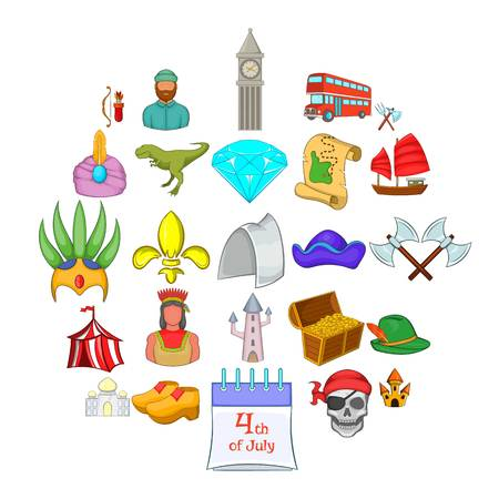 Old icons set. Cartoon set of 25 old vector icons for web isolated on white background