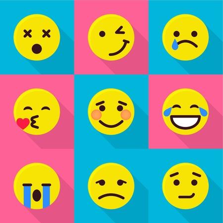 Digital emotion icons set. Flat set of 9 digital emotion vector icons for web isolated on white background Banco de Imagens - 130234313