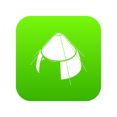 Conic tent icon green vector isolated on white background