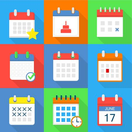 Timetable icons set. Flat set of 9 timetable vector icons for web isolated on white background