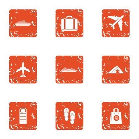 Luggage icons set. Grunge set of 9 luggage vector icons for web isolated on white background Иллюстрация