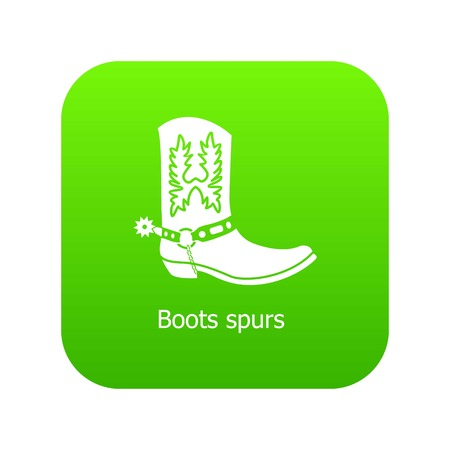 Boot spurs icon green vector isolated on white background Vectores