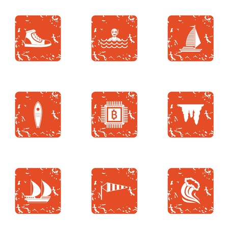 Wealthier icons set. Grunge set of 9 wealthier vector icons for web isolated on white background