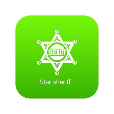 Star sheriff icon green vector isolated on white background