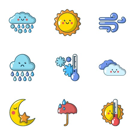 Meteorological data icons set. Cartoon set of 9 meteorological data vector icons for web isolated on white background