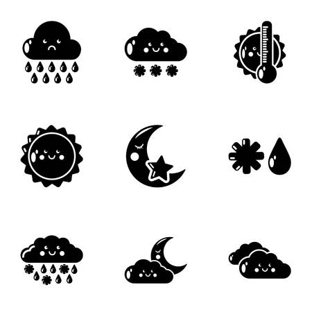 Meteorological information icons set. Simple set of 9 meteorological information vector icons for web isolated on white background