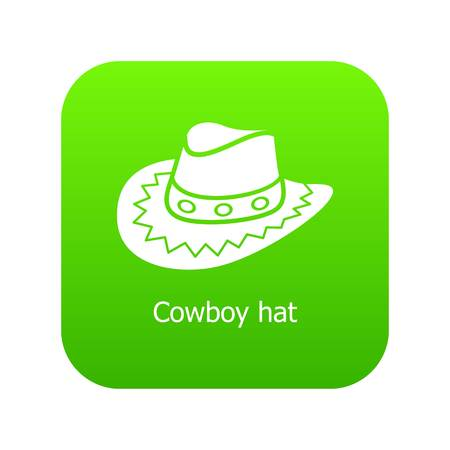 Cowboy hat icon green vector isolated on white background