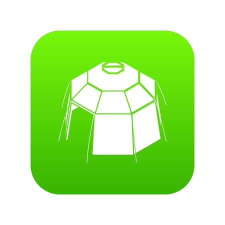 Hexagonal tent icon green vector isolated on white background