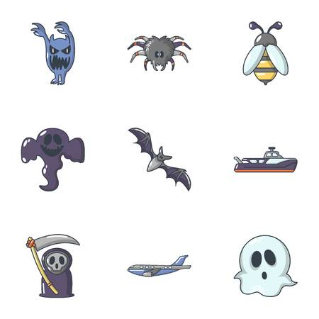 Scare icons set. Cartoon set of 9 scare vector icons for web isolated on white background