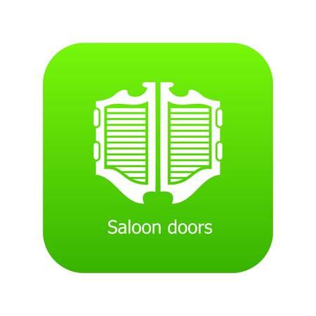 Icône de porte de saloon vecteur vert isolé sur fond blanc