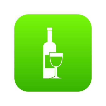 Wine bottle and glass icon digital green Illustration