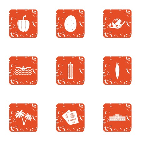 Travel document icons set. Grunge set of 9 travel document vector icons for web isolated on white background