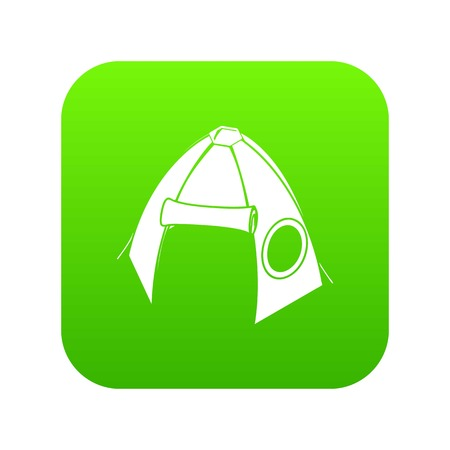Tribal tent icon green vector isolated on white background Illustration
