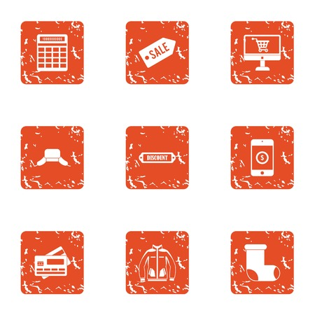 Sale time icons set. Grunge set of 9 sale time vector icons for web isolated on white background