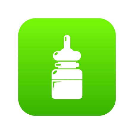 Baby bottle icon green vector isolated on white background