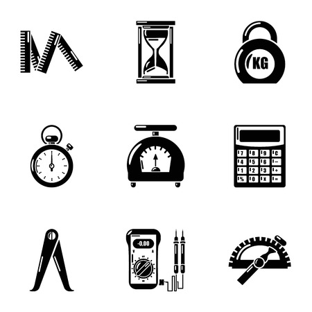 Measurement device icons set. Simple set of 9 measurement device vector icons for web isolated on white background