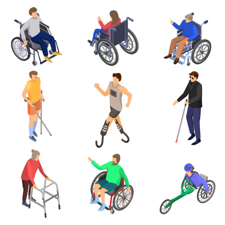 Day persons disabilities icon set. Isometric set of day persons disabilities vector icons for web design isolated on white background