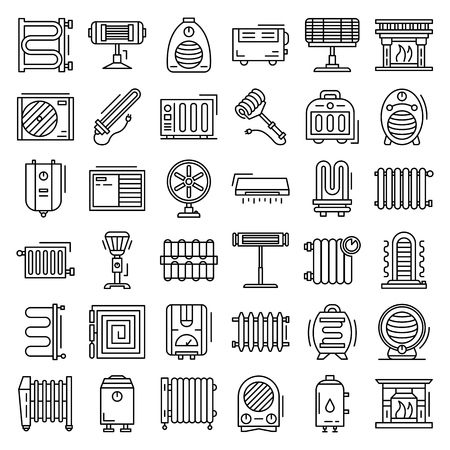 Electric heater icon set. Outline set of electric heater vector icons for web design isolated on white background