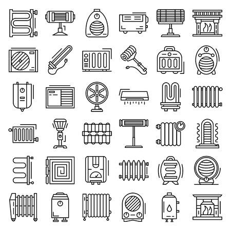 Elektrische Heizung Icon-Set. Umrisse von Vektorsymbolen für elektrische Heizungen für Webdesign isoliert auf weißem Hintergrund