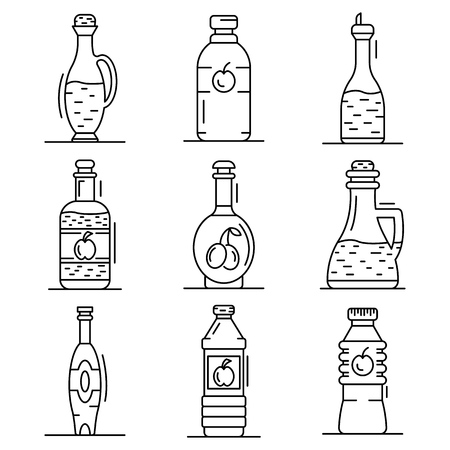 Vinegar icon set. Outline set of vinegar vector icons for web design isolated on white background