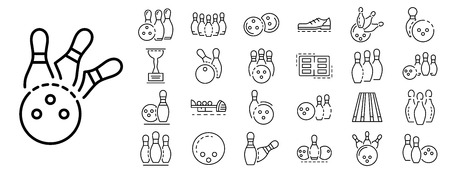 Bowling icon set. Outline set of bowling vector icons for web design isolated on white background 向量圖像