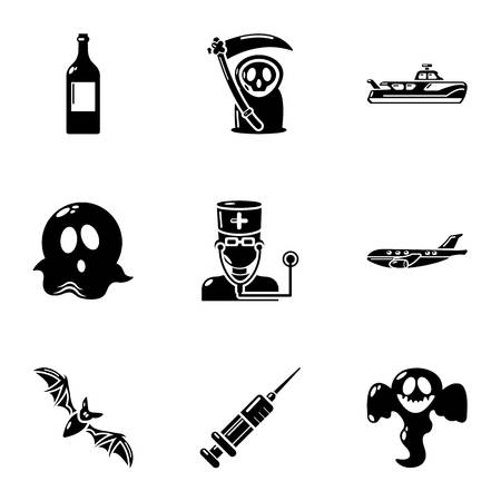 Spook icons set. Simple set of 9 spook vector icons for web isolated on white background Illustration