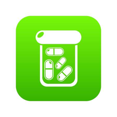 Bottle drug icon green vector