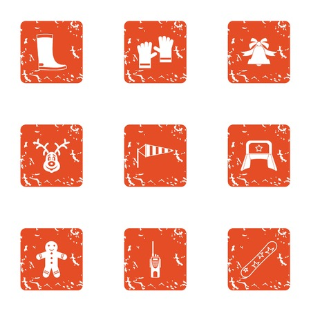 Russia holiday icons set. Grunge set of 9 russia holiday vector icons for web isolated on white background