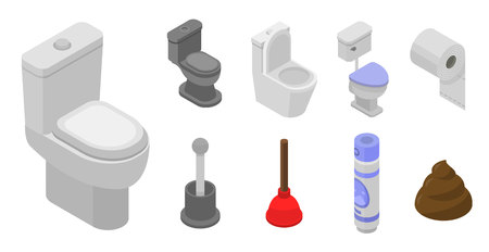 Toilet bathroom icon set, isometric style