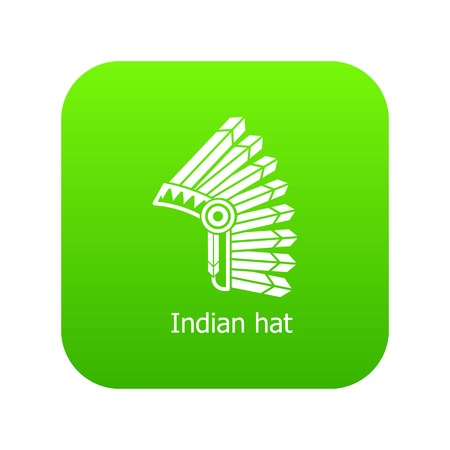 Indian hat icon green vector isolated on white background