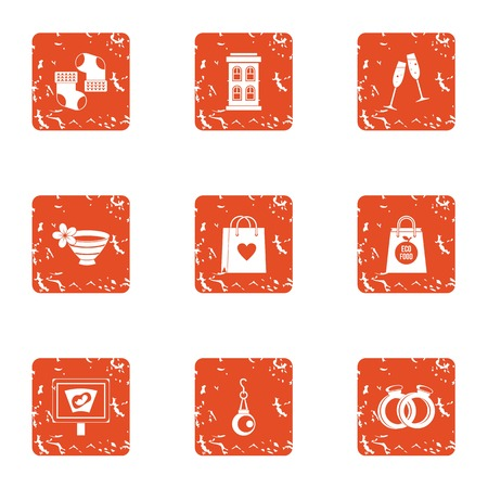 Love history icons set. Grunge set of 9 love history vector icons for web isolated on white background Illustration