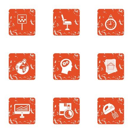 Mastermind icons set. Grunge set of 9 mastermind vector icons for web isolated on white background Illustration