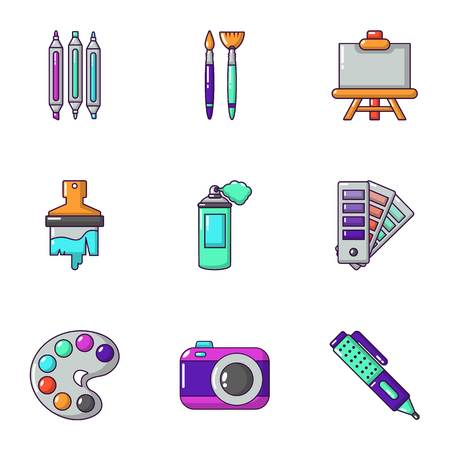Color icons set. Cartoon set of 9 color vector icons for web isolated on white background