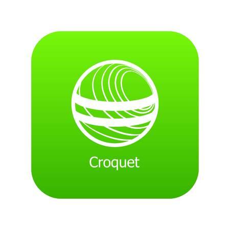 Croquet icon green vector isolated on white background