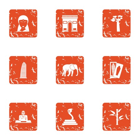 India style icons set. Grunge set of 9 india style vector icons for web isolated on white background