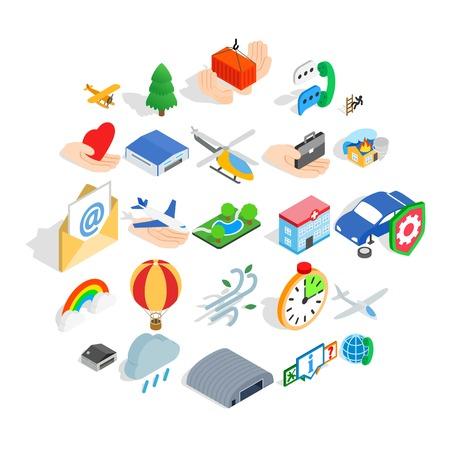 Light aviation icons set. Isometric set of 25 light aviation vector icons for web isolated on white background Çizim